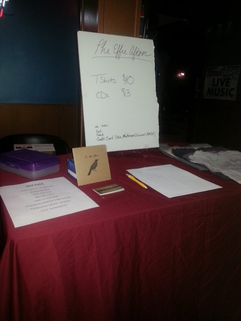Merch table in 2014